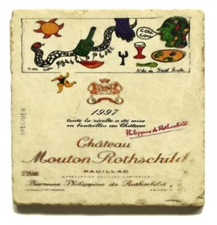 Mouton Rothschild 1997 Set/4 Marble Coasters 4x4 in.