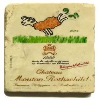 Mouton Rothschild 1995 Set/4 Marble Coasters 4x4 in.