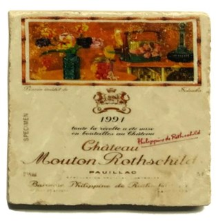 Mouton Rothschild 1999 Set/4 Marble Coasters 4x4 in.