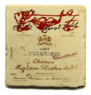 Mouton Rothschild 1991 Set/4 Marble Coasters 4x4 in.