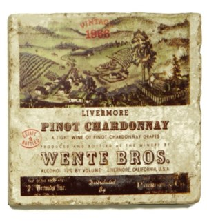 WENTE BROS. Set/4 Marble Coasters 4x4 in.