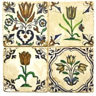 Dutch Tulip Series Set/4, Marble Coasters 4x4 in