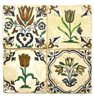 """Dutch Tulip Series Set/4, Marble Coasters 4x4 in"""