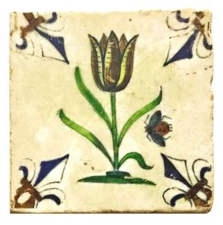 Dutch Lady Bug Tulip Set/4, Marble Coasters 4x4 in.