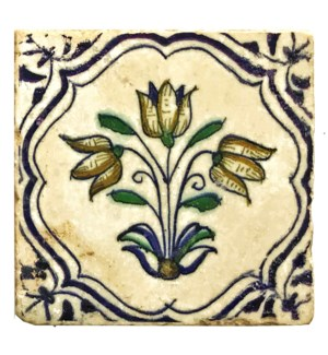 """Dutch Single Tulip Set/4, Marble Coasters 4x4 in"""