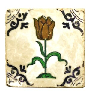 """Dutch Tri Tulip Set/4, Marble Coasters 4x4 in"""