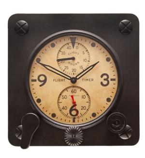 Flight Timer Wall Clock Black