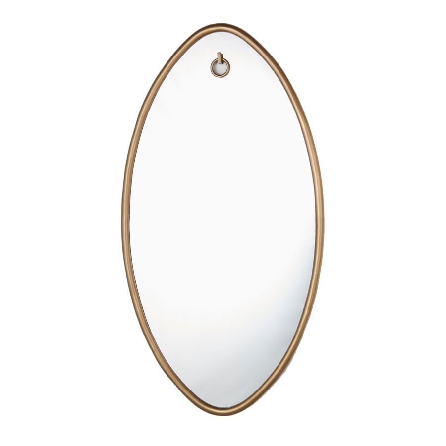 Ellipse Mirror Oval Ant Brass