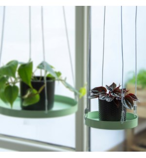 Plant tray hanging round green S