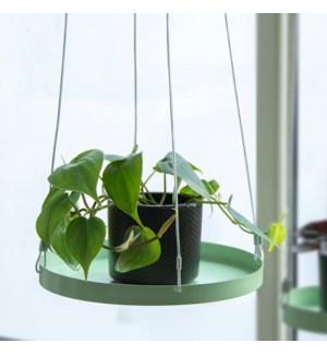Plant tray hanging round green L