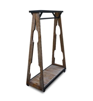 Industrial Coat Organizer Rack Black Matte Metal with PineWood, on wheels. 39.4x15.75x63inch