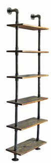 DIY Industrial Pipe 6 Shelf Bookcase, 24x10x79 inches, Metal & Pinewood