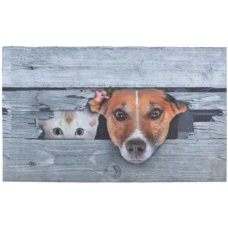 Doormat Peek-a-boo! Dog & cat - 29.75x18x0.25 inches