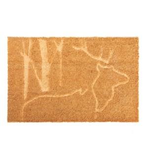 Doormat coir relief deer, Coconut fibre, PVC - 29.5x17.7x0.7in.