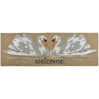 Coir doormat swan - 29.75x10x1 inches