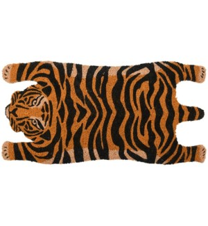 Doormat coir tiger, Coconut fibre, PVC - 29.3x14.8x0.7in.
