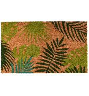 """Doormat coir tropical leaves, Coconut fibre, PVC - 29.5x17.7x0.7in."""