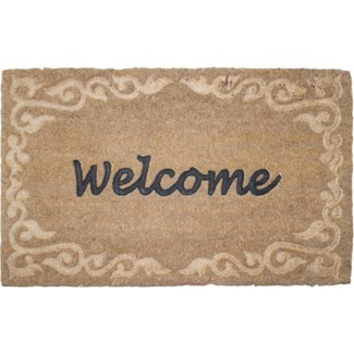 Doormat coir relief welcome -  23.6x15.7x0.7in.