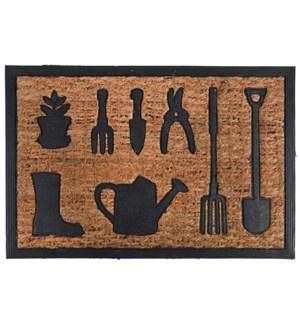 Doormat rubber/ coir watering can, Coconut fibre, rubber -23.9x15.9x0.3in.