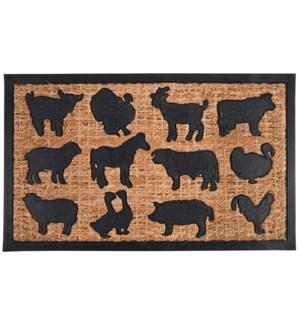 Doormat rubber/ coir farm animals, Coconut fibre, rubber - 29.7x17.8x0.3in.