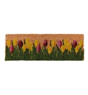 Doormat coir tulips, 29.7x10x0.8 inch