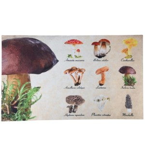 """Doormat collectibles mushrooms, Polyester, PVC - 29.5x17.9x0.1in."""