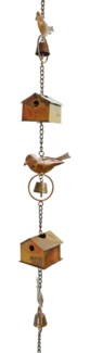 Flamed Bird House and Birds Rain Chain - 4.5x104 inches
