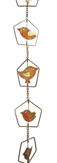 Flamed Bird in House Rain Chain - 4x96 inches - On Sale 50 percent off original price 43.2