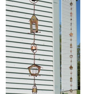 Flamed Bird House Rain Chain