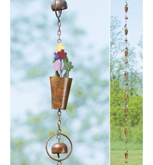 Flamed Flower Pot Rain Chain