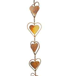Flamed Heart Rain Chain