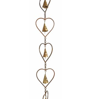 Flamed Heart w/Bell Rain Chain