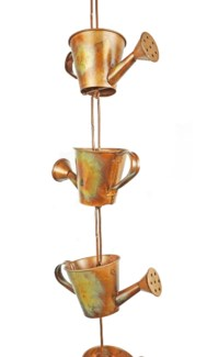 Flamed Watering Can Rain Chain 5x2.5x96 inch. Pg.43