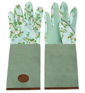 Rose print/jute garden glove long. 0. 18,2x1,2x37,0cm. oq/6,mc/6 Pg.137