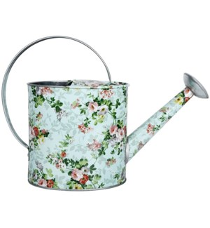 Rose print indoor watering can, Galvanized steel - 12.7x4.4x9.1in.