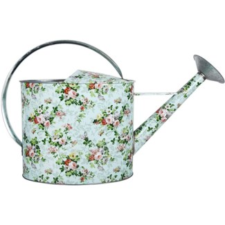Rose print outdoor watering can, Galvanized steel - 20.2x6.4x12.4in.
