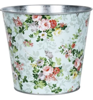 Rose print round zinc flower pot, Galvanized steel - 6.3x6.3x5.6in.