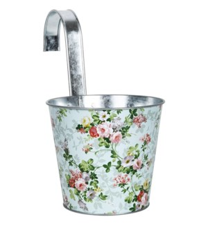 Rose print round zinc flower pot with hook, Galvanized steel - 6.3x10.6x10.2in.