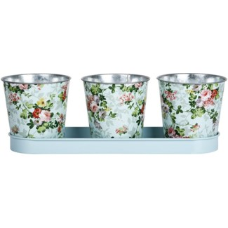 Rose print 3 pots on tray, Galvanized steel - 12.6x4.2x4.3in.