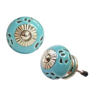 Round Knob,Turquoise, Ceramic, 1.25 in