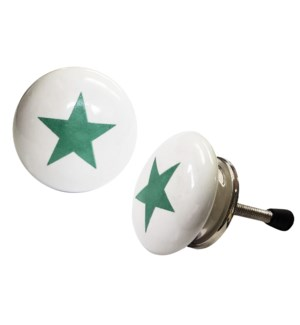 Round Knob, Turq.Star, Ceramic, 1.25 in