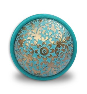 """""""Brass etched colored knobs, resin base, turquoise, D: 1.62"""""""
