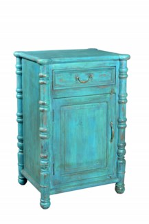 Recycled Wood Bedside Table. 1 Drw, 1 Dr. Blue 24x20x35inches
