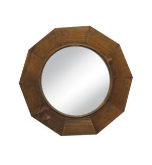 """""""Octagon Wooden Mirror, 21.7inch, Mirror: 13.4(D) in"""""""
