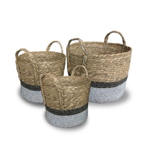 """""""Rope Basket, Set of 3, Cattail Grass+Cotton Rope"""""""