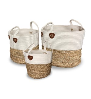 """""""Rope Basket, Set of 3, Cotton+Seagrass"""""""