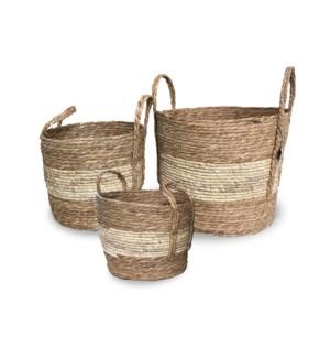"""Rope Basket, Set of 3, Cornrope+Cattail"""