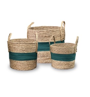 """""""Rope Basket, Set of 3, Cotton+Cattail"""""""