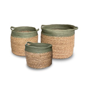 """""""Rope Basket, Set of 3, Paper Rope+Cattail Grass"""""""