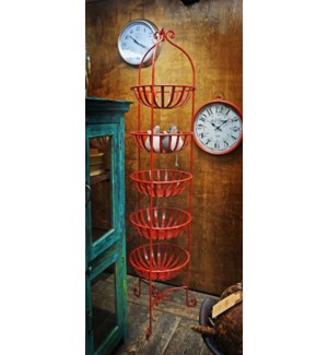 """Iron Five Basket Fruit Rack, Red finish"""